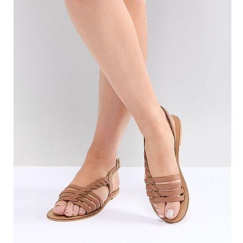 design wide fit flattered leather plaited t-bar flat sandals - tan, Asos