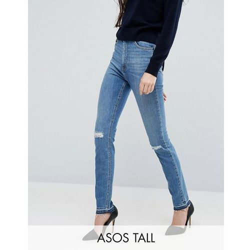 farleigh slim mom jeans in hawthorn mid stonewash with busted knees and let-down hems - blue wyprodukowany przez Asos tall