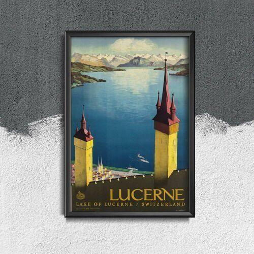 Vintageposteria.pl Plakat w stylu retro plakat w stylu retro jezioro czterech kantonów szwajcaria