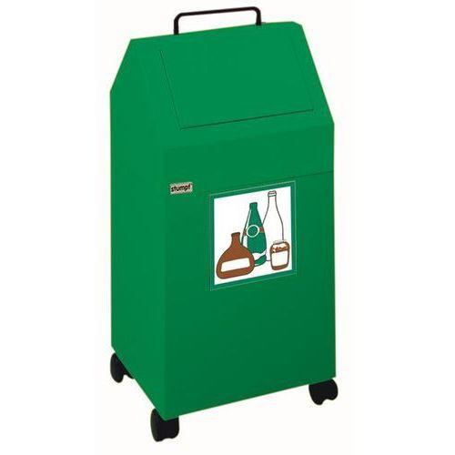 Pojemnik na surowce wtórne, poj. 45 l, ruchome, blacha stalowa, kolor zielony, r marki Stumpf-metall