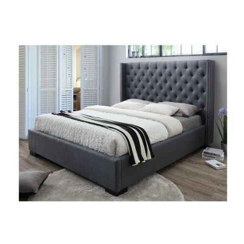 Łóżko massimo z pikowanym wezgłowiem - 160 × 200 cm - szara tkanina marki Vente-unique