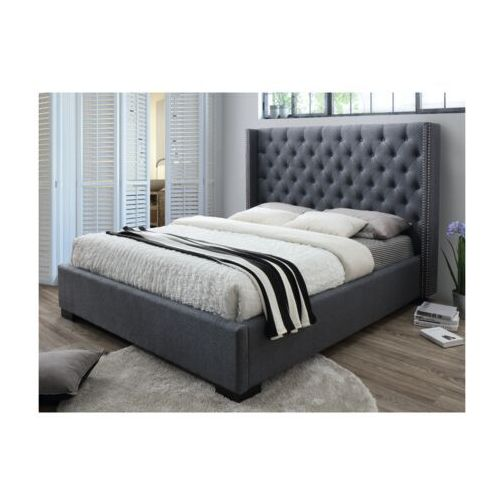 Łóżko massimo z pikowanym wezgłowiem - 160 × 200 cm - szara tkanina marki Vente-unique.pl