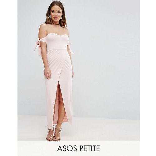 ASOS PETITE Bow Off The Shoulder Maxi Dress With Wrap Front - Pink