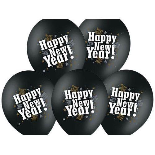 Balony czarne z nadrukiem Happy New Year na sylwestra - 37 cm - 50 szt.