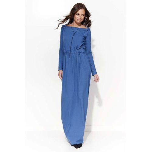 Jeansowa Długa Sukienka Ściągana w Pasie