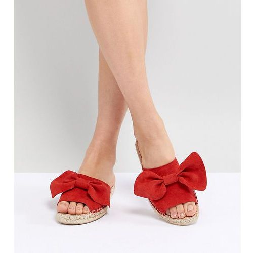 Park Lane Suede Bow Espadrille Sliders - Red