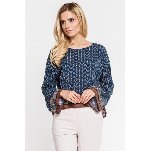 Zwiewna bluzka w stylu boho - Bialcon, kolor niebieski