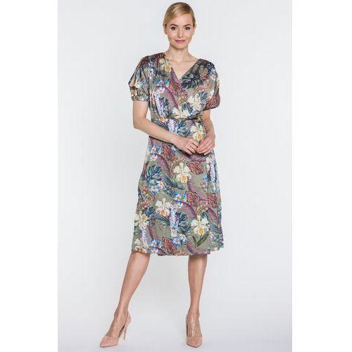Oliwkowa sukienka kopertowa w kwiaty - marki Anataka