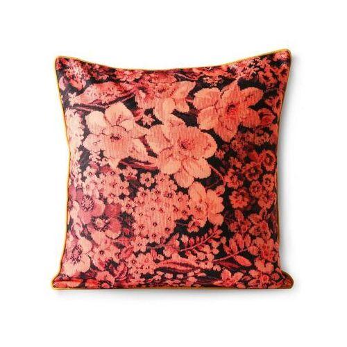 poduszka z nadrukiem kwiatów koralowo/czarna (50x50) tku2093 marki Hkliving