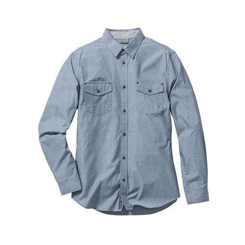 Koszula z długim rękawem Slim Fit bonprix niebieski w paski, kolor niebieski