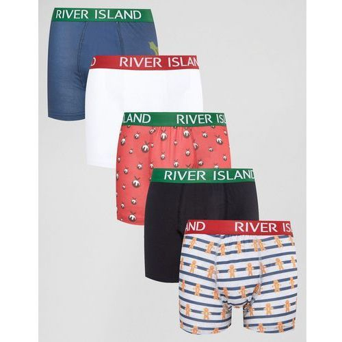River Island Trunks With Christmas Pudding Print In Red 5 Pack - Red
