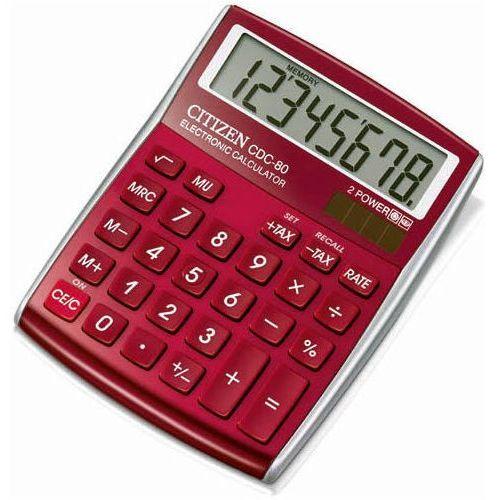 Kalkulator biurowy CITIZEN CDC-80 RDWB, 8-cyfrowy, 135x80mm, czerwony (4562195132882)