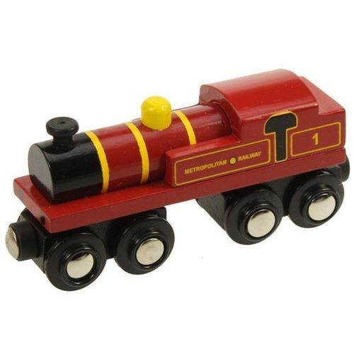 Bigjigs toys Parowóz metropolitan do zabawy, wyposażenie kolejek drewnianych bigjigs