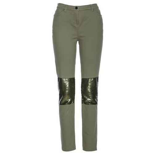 Spodnie z cekinami oliwkowy marki Bonprix