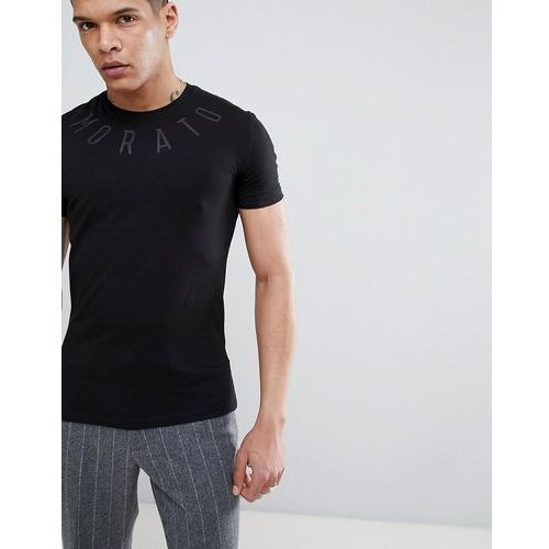 t-shirt in black with neck print - black marki Antony morato