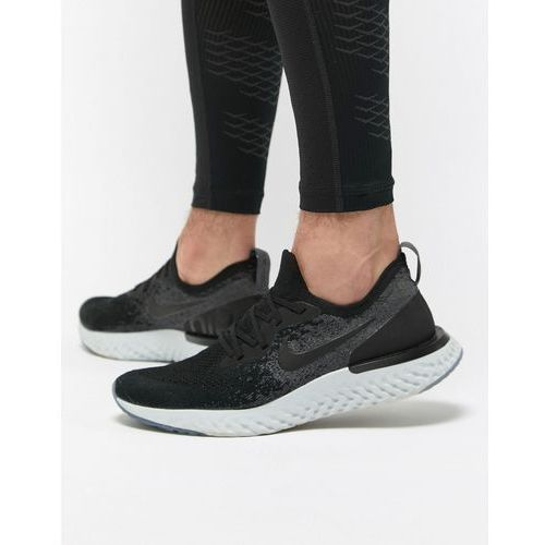 epic react flyknit trainers in black aq0067-001 - black marki Nike running