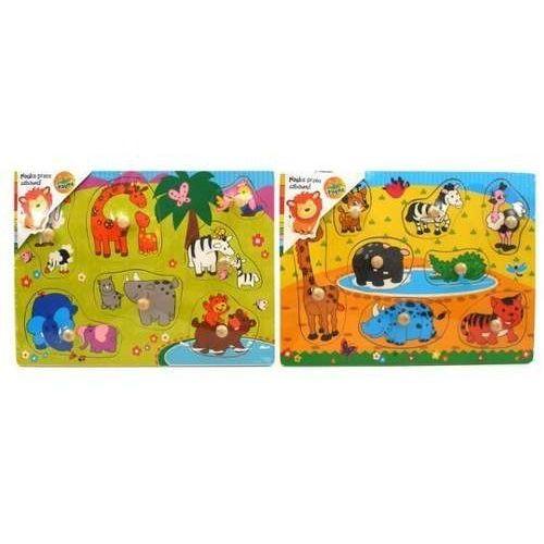 Drewniana układanka z pinezkami safari marki Playme