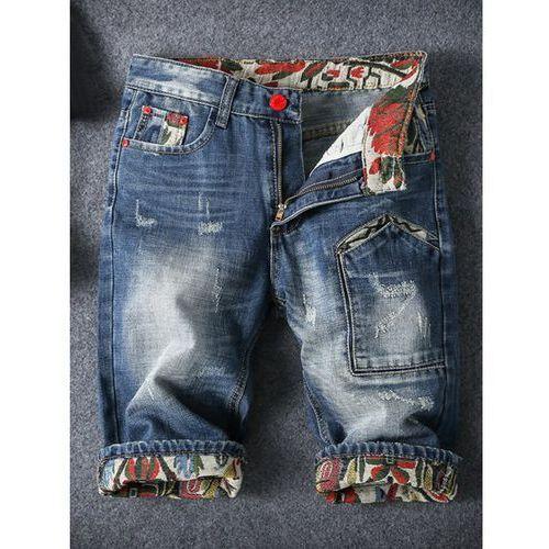 Embroidery Cat's Whisker Design Fitted Straight Leg Zipper Fly Denim Shorts For Men, kup u jednego z partnerów