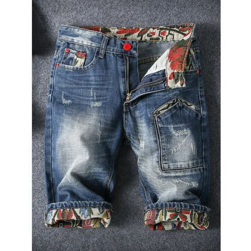 Embroidery Cat's Whisker Design Fitted Straight Leg Zipper Fly Denim Shorts For Men
