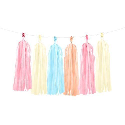 Girlanda z frędzlami różowymi, kremowy, błękitnymi i brzoskwiniowymi - 150 cm - 1 szt. marki Party deco