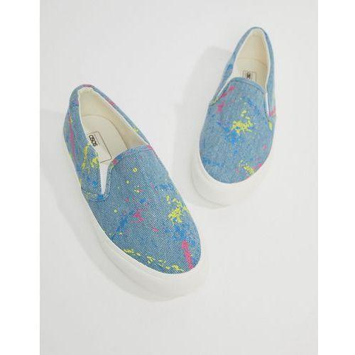 ASOS DESIGN Slip On Plimsolls In Washed Denim With Splatter Print - Grey, kolor szary