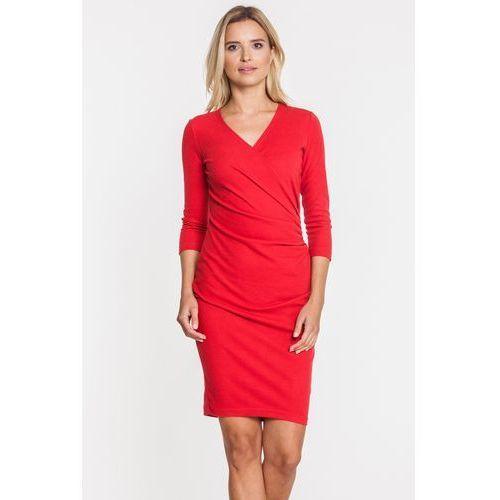 Czerwona sukienka z kopertowym przeszyciem - Carmell, 1 rozmiar
