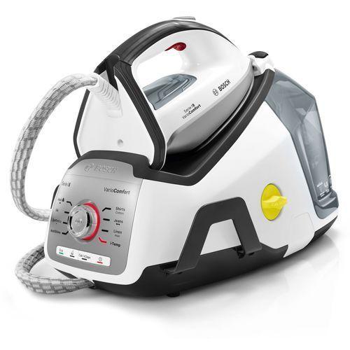 Bosch serie 8 – centrum przez prasowanie z 480 g, funkcja wyrzutu pary itemp i funkcja eco, 2400 w, biało-szary