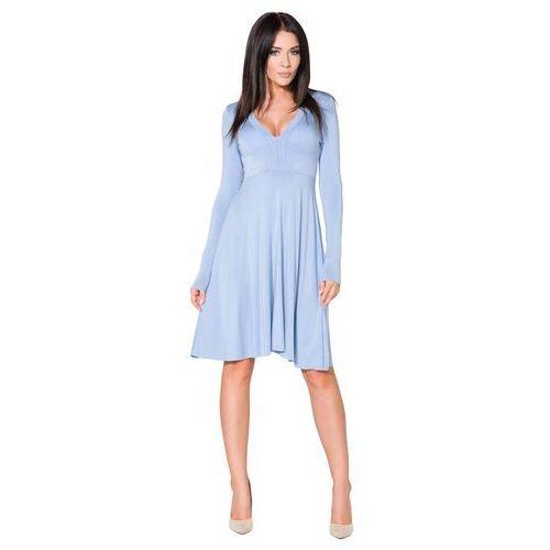 Niebieska Sukienka Rozkloszowana Midi z Dekoltem w Szpic, w 5 rozmiarach