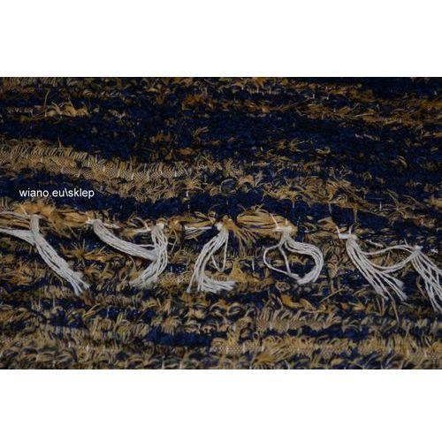 Chodnik bawełniany, ręcznie tkany, ciemny granat- jasny brąz 80x140 marki Twórczyni ludowa