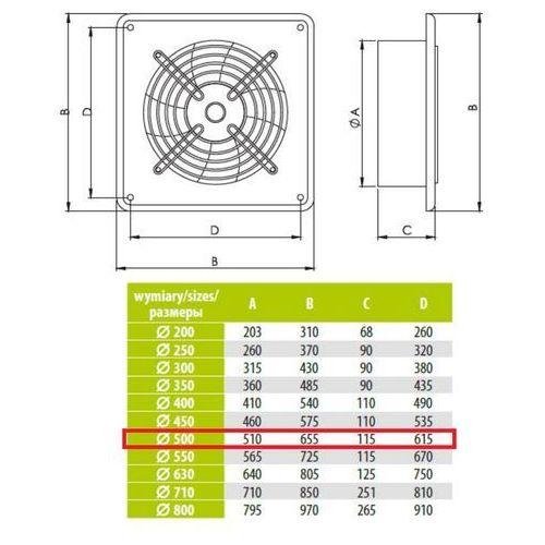 Ścienny wentylator wyciągowy przemysłowy średnice od 200 do 630 mm bardzo wydajny arok średnice: 500 marki Airroxy