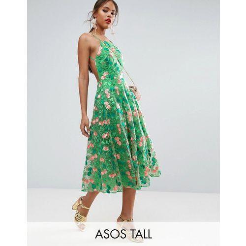 salon floral embroidered backless pinny midi prom dress - multi marki Asos tall