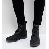 wide fit lace up boots in black leather with ribbed sole - black marki Asos