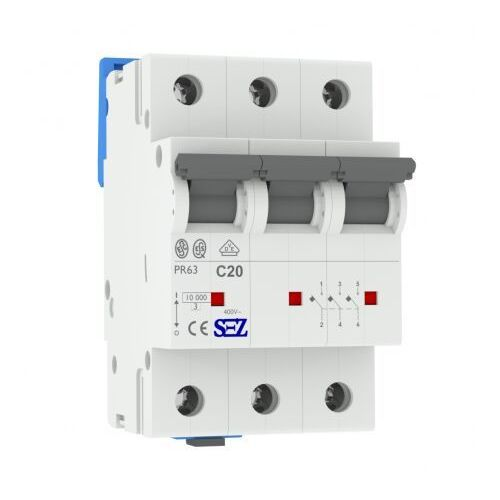 C20A 3P 10kA Wyłącznik nadprądowy bezpiecznik Typ S eska PR63 SEZ 1606