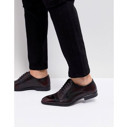 Asos oxford shoes in burgundy leather with laser detail - red