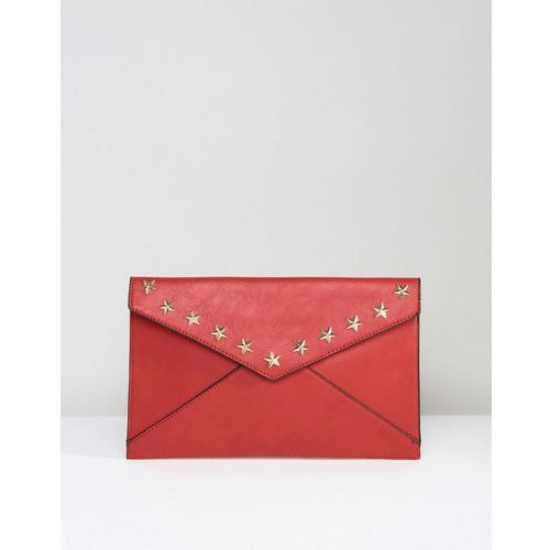 Yoki Envelope Clutch Bag With Star Studding - Red