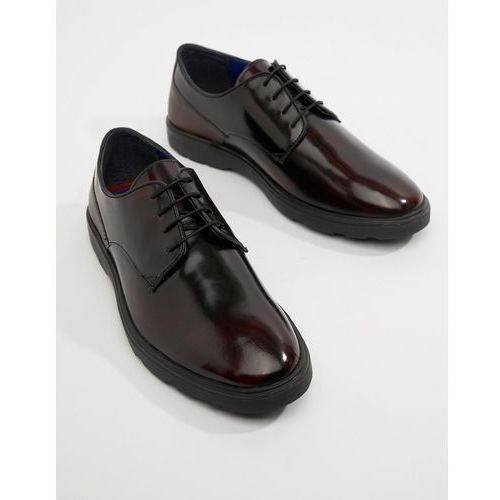 high shine derby shoes in burgundy - red, Silver street