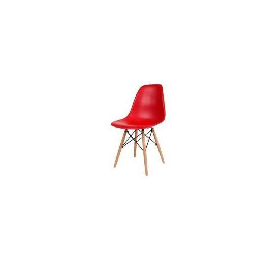 """Krzesło """"Monza""""- czerwone z bukowymi nogami, kolor czerwony"""