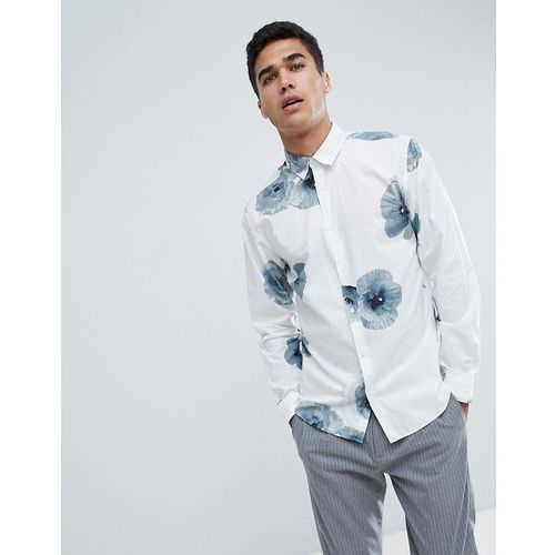 Selected Homme Shirt With Large Floral Print In Slim Fit - White, 1 rozmiar