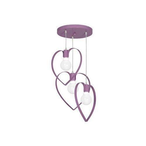 Dziecięca lampa wisząca love 3xe27/60w/230v fioletowa marki Decoland