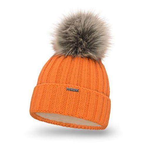 Czapka damska - pomarańczowy - pomarańczowy \ pompon futerkowy - długi włos marki Pamami