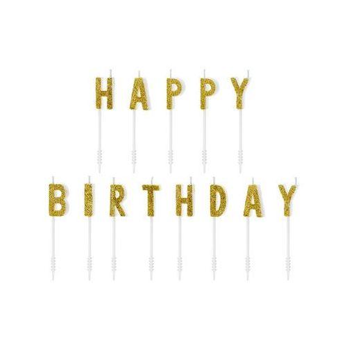 Party deco Świeczki pikery napis - złoty brokatowy napis happy birthday (5900779105850)