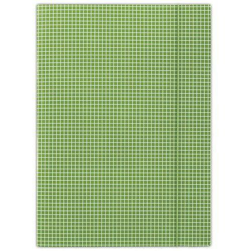 Teczka z gumką A4 zielona w kratę (5901498052463)