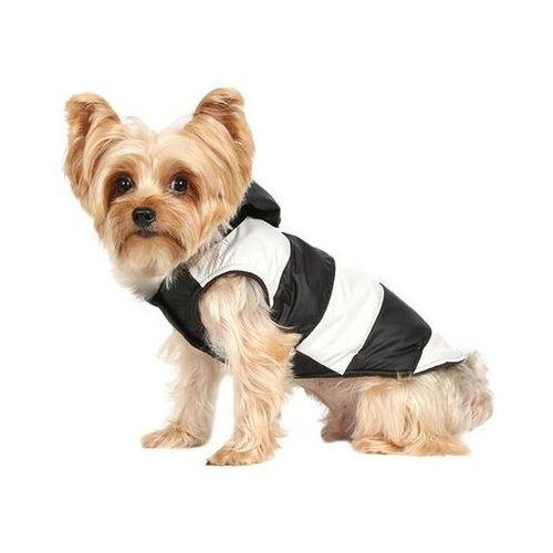Doggy dolly kurtka w paski z futerkowym kapturem, czarno/biała, m 28-30 cm/41-43 cm - darmowa dostawa od 95 zł!