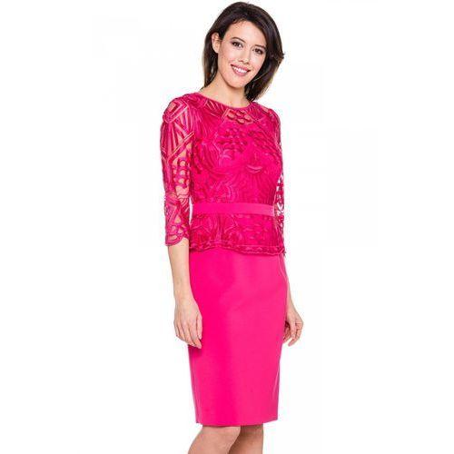 Różowa sukienka z koronki z baskinką - marki Metafora
