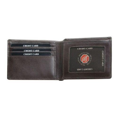 a9222baf5b267 ... Ultra Cienki Skórzany Portfel Slim Zabezpieczenie Kart RFID Czarny - Brąz  połysk