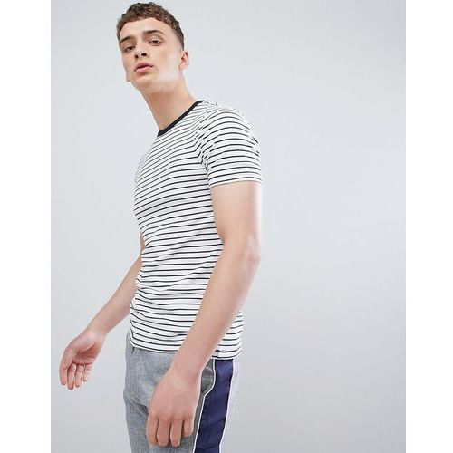 muscle fit t-shirt in white and navy stripe - white marki River island
