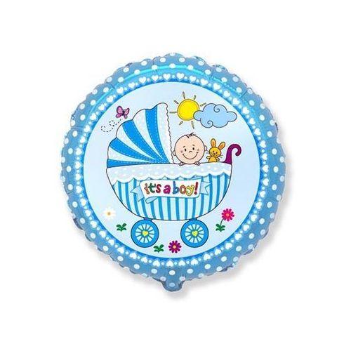 Balon foliowy Wózek niebieski - 46 cm - 1 szt., #A283^tf