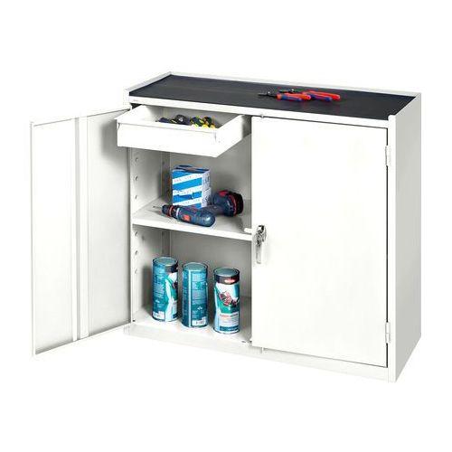 Szafka warsztatowa, 2 szuflady, 900x450x950mm, biały