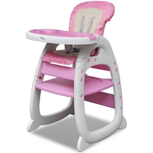 vidaXL Krzesełko do karmienia 3w1 Różowe