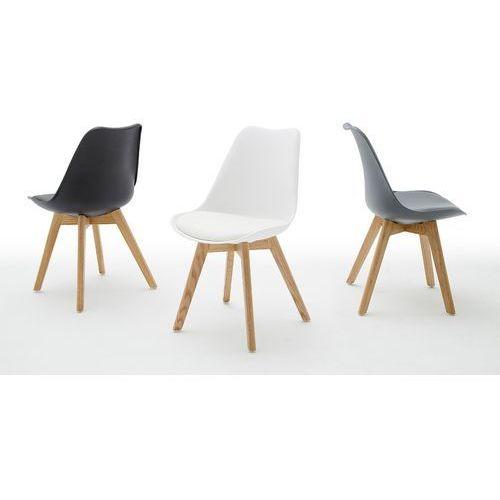 Krzesło LUCIANO nogi dąb lity siedzisko ekoskóra